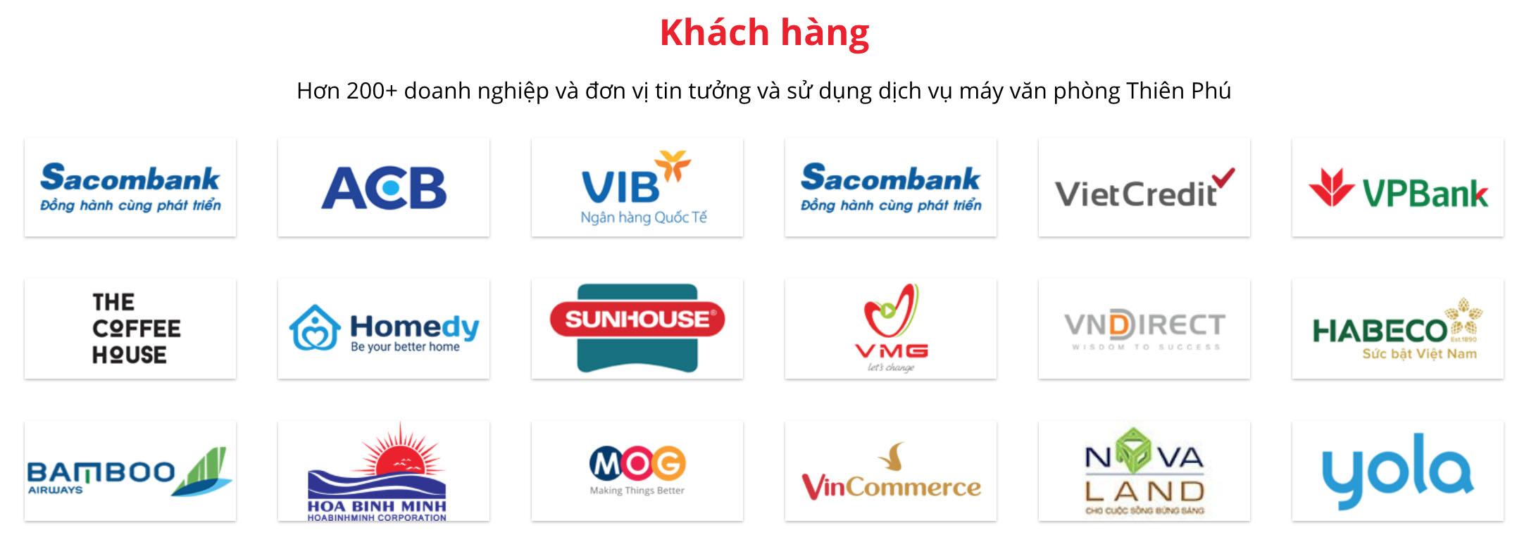 Một số khách hàng lớn đã sử dụng dịch vụ