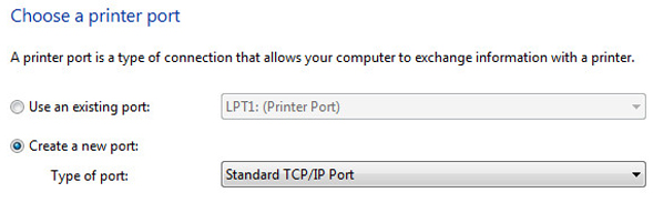 Create a new port, chọn Standard TCP/IP Port sau đó nhấn NEXT
